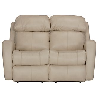 Finn Light Beige Microfiber Power Reclining Loveseat
