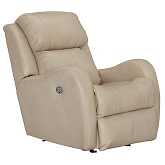Finn Lt Beige Microfiber Power Rocker Recliner
