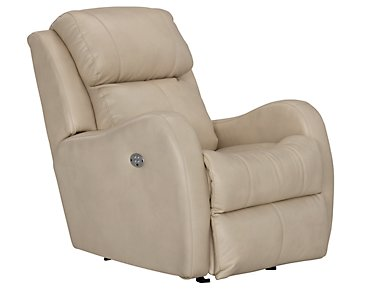 Finn Light Beige Microfiber Power Rocker Recliner