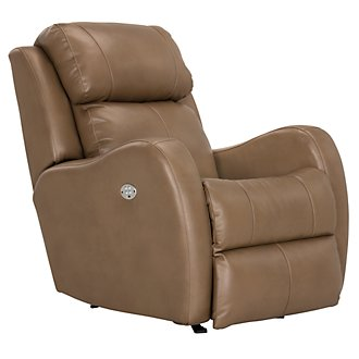 Finn Brown Microfiber Power Rocker Recliner