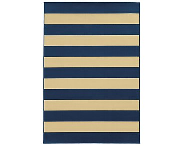 Riviera Dark Blue Indoor/Outdoor 5x8 Area Rug