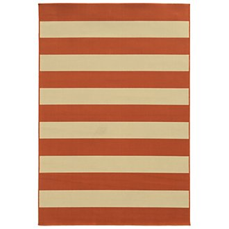 Riviera Dark Orange Indoor/Outdoor 5x8 Area Rug