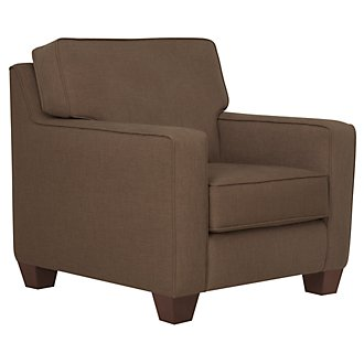 York Dark Brown Fabric Chair
