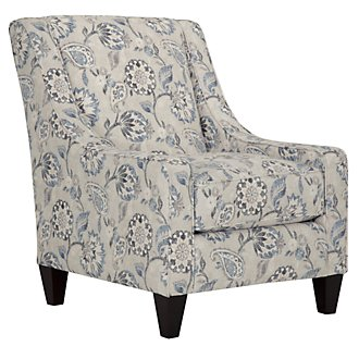 Sylvie Blue Floral Accent Chair