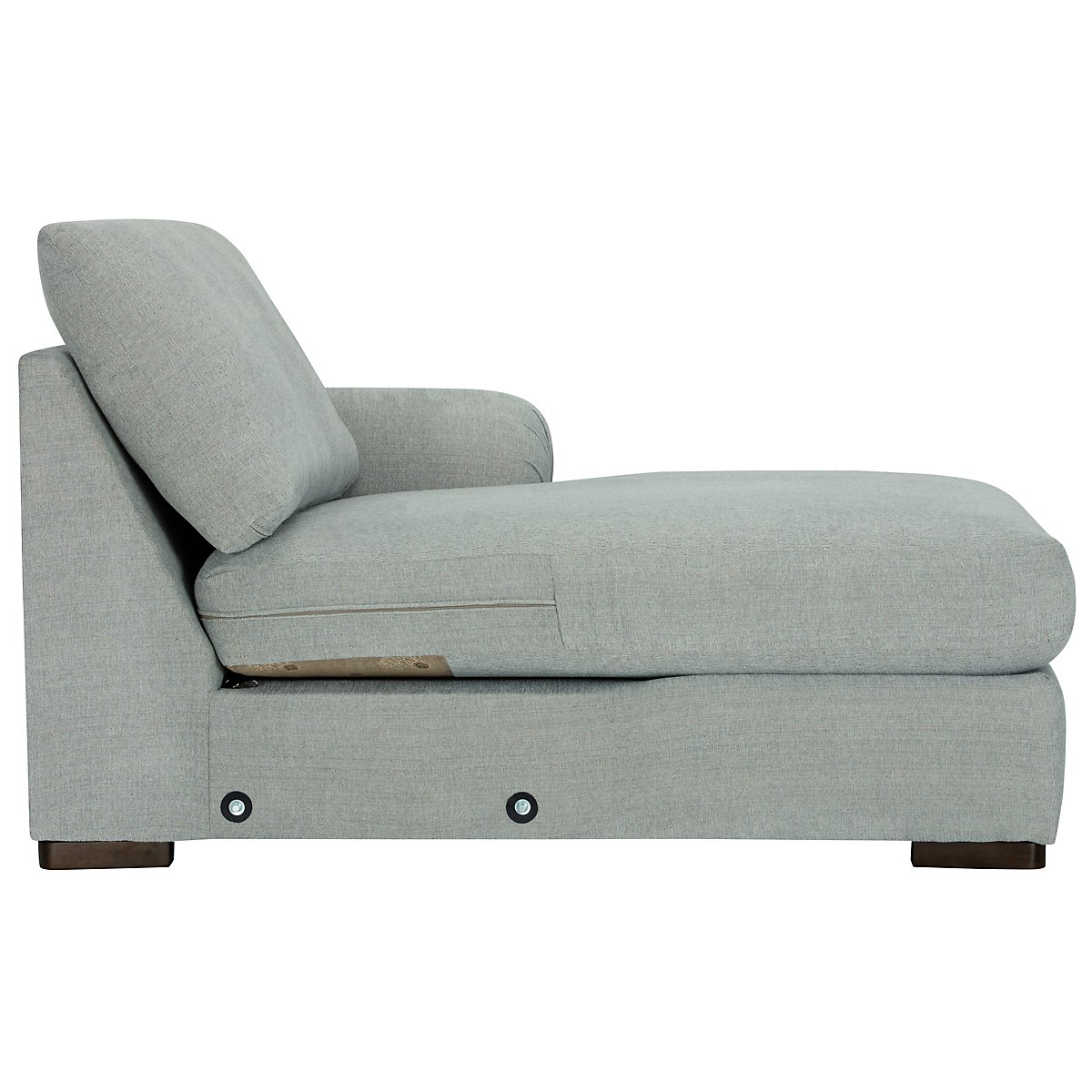 City furniture belair lt blue microfiber right chaise for Blue sectional with chaise