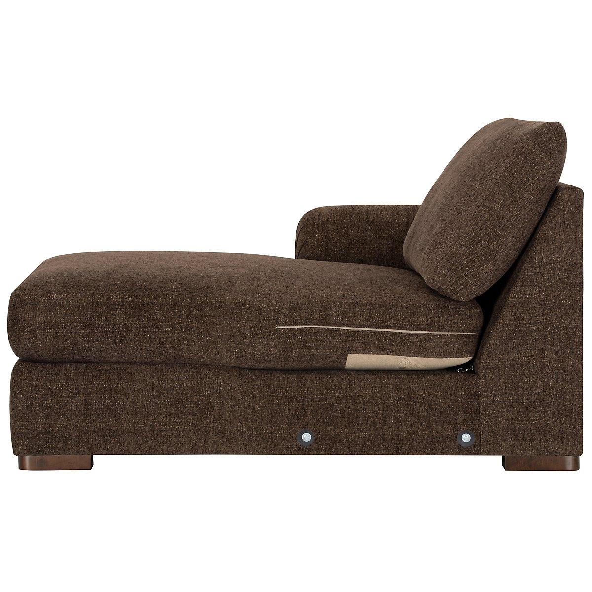 City furniture belair dk brown microfiber left chaise for Brown microfiber chaise lounger