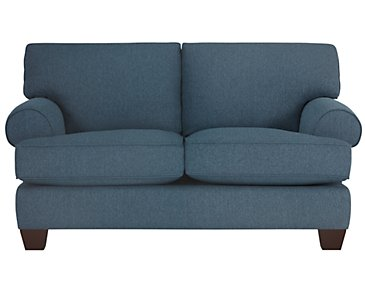 Quinn Blue Fabric Loveseat