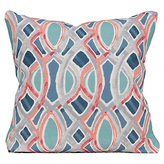 Whiplash Blue Fabric Square Accent Pillow