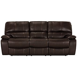 James Dk Brown Microfiber Power Reclining Sofa