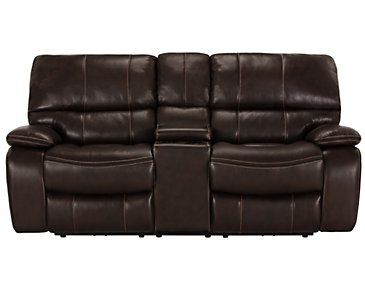 James Dark Brown Microfiber Power Reclining Console Loveseat