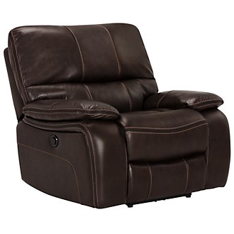James Dk Brown Microfiber Power Recliner
