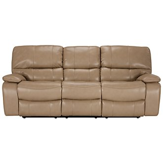 James Dk Taupe Microfiber Power Reclining Sofa