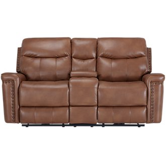 Wallace Medium Brown Microfiber Power Reclining Console Loveseat