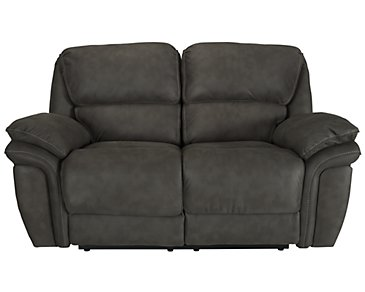 Kirsten Dark Gray Microfiber Reclining Loveseat