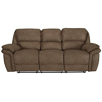 Kirsten Md Brown Microfiber Reclining Sofa
