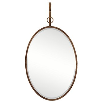 Ava Dark Gold Oval Mirror