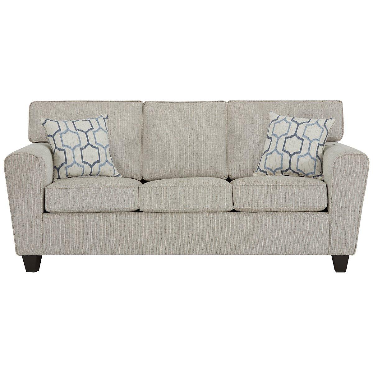 City Furniture Zoey Lt Beige Microfiber Sofa