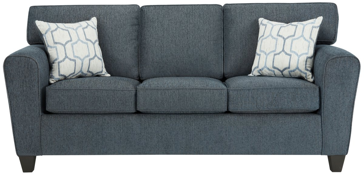 City Furniture Zoey Dk Blue Microfiber Sofa
