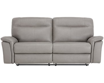 Mason Gray Leather & Vinyl Power Reclining Sofa