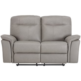 Mason Gray Leather & Vinyl Power Reclining Loveseat