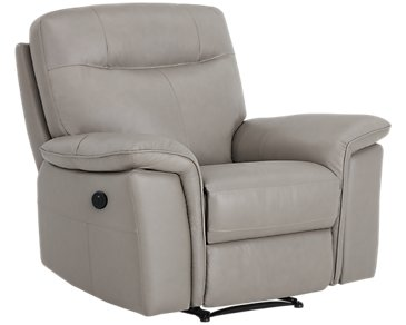 Mason Gray Leather & Vinyl Power Recliner