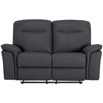 Mason Dark Blue Leather & Vinyl Reclining Loveseat