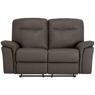 Mason Dark Brown Leather & Vinyl Power Reclining Loveseat