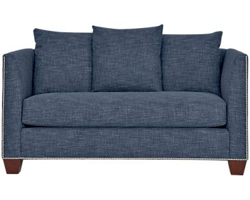 Wren Dark Blue Fabric Loveseat