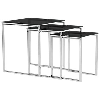 Katrina Black Glass Nesting End Table