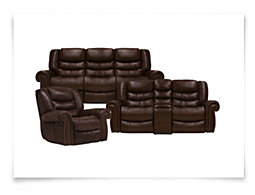 Peyton2 Dk Brown Leather & Vinyl Manually Reclining Living Room