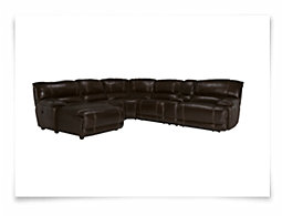 Benson Dark Brown Leather & Vinyl Left Chaise Power Reclining Sectional
