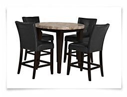 Monark Round Marble High Dining Table & 2 Upholstered Barstools