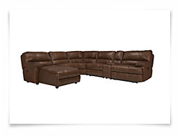Alton2 Medium Brown Leather & Vinyl Left Chaise Manually Reclining Sectional