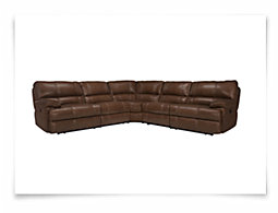 Alton2 Medium Brown Leather & Vinyl Small Two-Arm Power Reclining Sectional