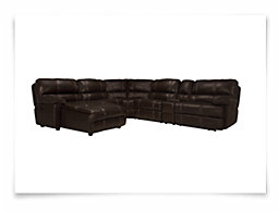 Alton2 Dark Brown Leather & Vinyl Left Chaise Power Reclining Sectional
