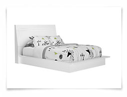 Dimora3 White Wood Platform Bed