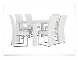 Paris White Rectangular Table & 4 Upholstered Chairs