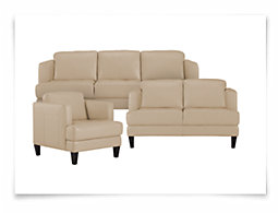 Mila Lt Taupe Leather Living Room