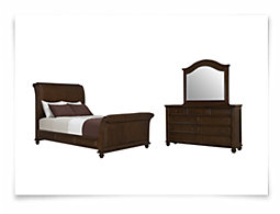 Claire Dark Tone Woven Sleigh Bedroom