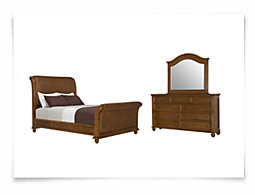 Claire Mid Tone Woven Sleigh Bedroom