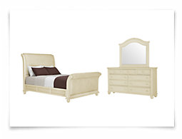 Claire White Woven Sleigh Bedroom