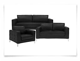 Kacey2 Black Microfiber Living Room