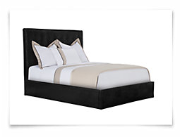 Lynx Black Bonded Leather Platform Bed