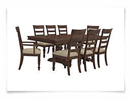 Emerson Dark Tone Trestle Table & 4 Wood Chairs