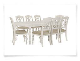 Quinn White Rectangular Table & 4 Wood Chairs