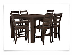 Holden Mid Tone High Table & 4 Wood Barstools