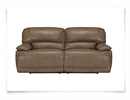 Benson Dark Taupe Leather & Vinyl Power Reclining Sofa