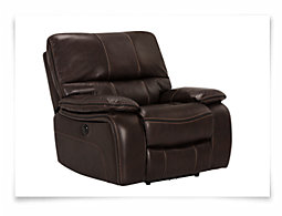 James Dark Brown Microfiber Power Recliner