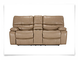 James Dark Taupe Microfiber Power Reclining Console Loveseat