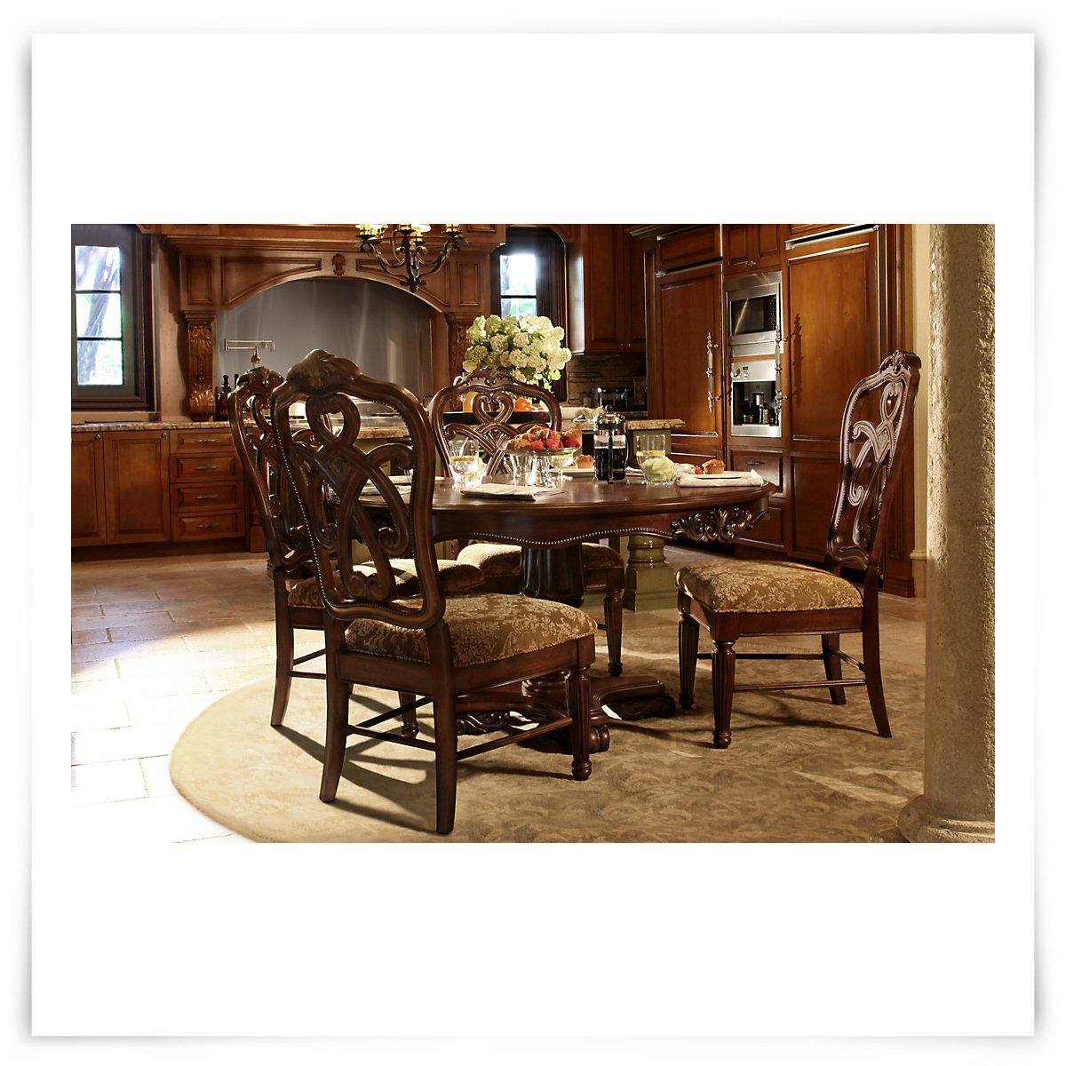 City Furniture Regal Dark Tone Round Table 4 Wood Chairs
